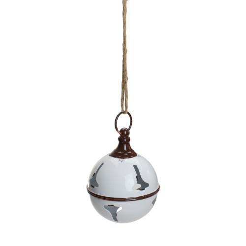 "7"" White Metal Jingle Bell Hanging Christmas Decoration - IMAGE 1"