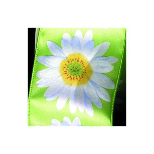 Green and White Floral Wired Craft Ribbon 2.5 x 20 Yards - IMAGE 1