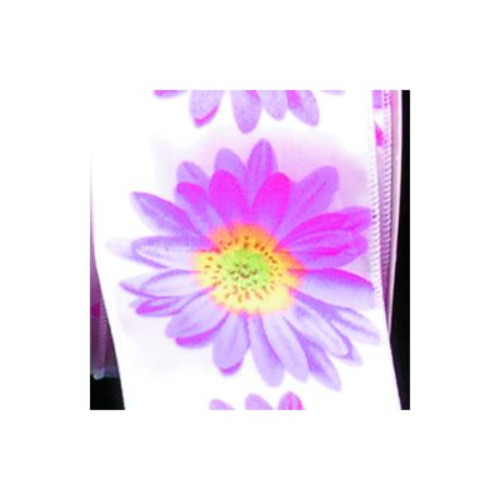 White and Purple Floral Wired Craft Ribbon 2.5 x 20 Yards - IMAGE 1