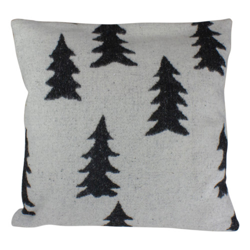 """18"""" White and Black Forest Trees Knit Christmas Throw Pillow - IMAGE 1"""
