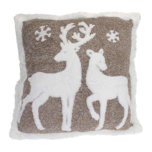 """20"""" Brown and White Plush Sherpa Throw Pillow with Reindeer - IMAGE 1"""