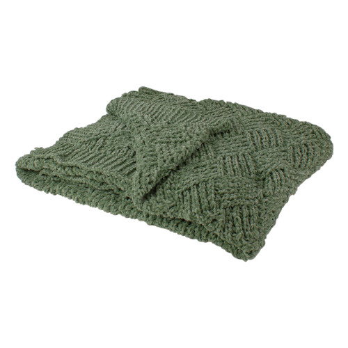 "Green Chenille Cable Knit Rectangular Throw Blanket 50"" x 60"" - IMAGE 1"