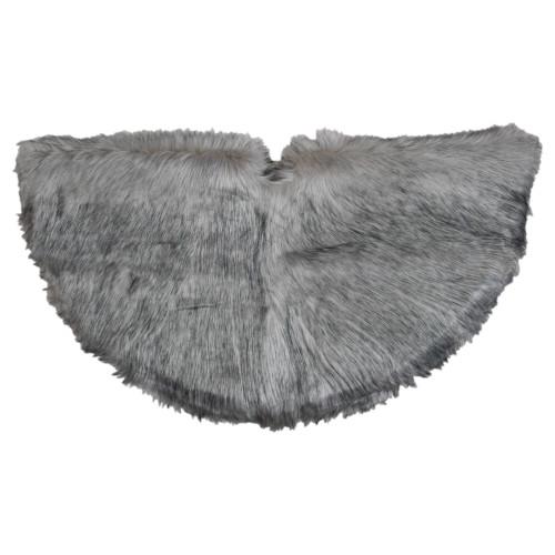 "36"" Beige and Gray Plush Faux Fur Christmas Tree Skirt - IMAGE 1"