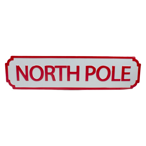 """28"""" Red and White North Pole Christmas Wall Sign - IMAGE 1"""