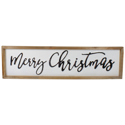"""26"""" Black and White Merry Christmas Wooden Framed Wall Sign - IMAGE 1"""