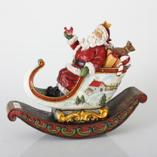 "13"" Red and White Rocking Sleigh with Santa Claus Christmas Tabletop Decor - IMAGE 1"