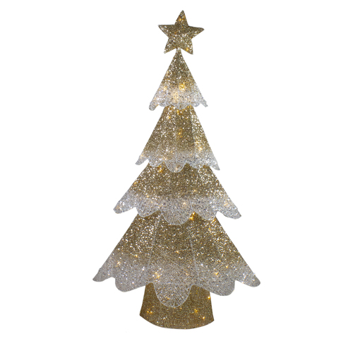 """46"""" LED Lighted Gold Mesh Christmas Tree Outdoor Decoration - IMAGE 1"""