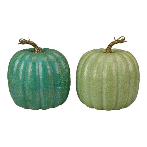 "Set of 2 Green Glittered Fall Harvest Tabletop Pumpkins 7"" - IMAGE 1"