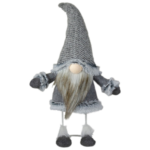 "17"" Gray and Beige Standing Gnome Tabletop Christmas Decoration - IMAGE 1"
