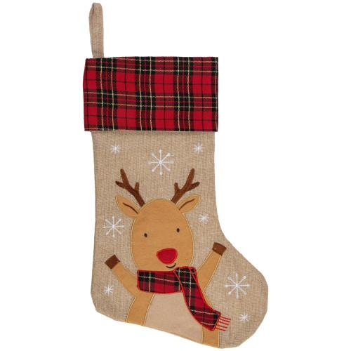 """19"""" Burlap Plaid Whimsical Reindeer Waiving Christmas Stocking - IMAGE 1"""