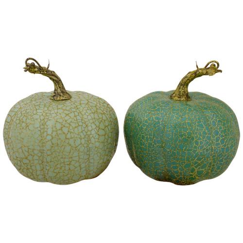 "Set of 2 Green Fall Harvest Tabletop Pumpkins 5"" - IMAGE 1"