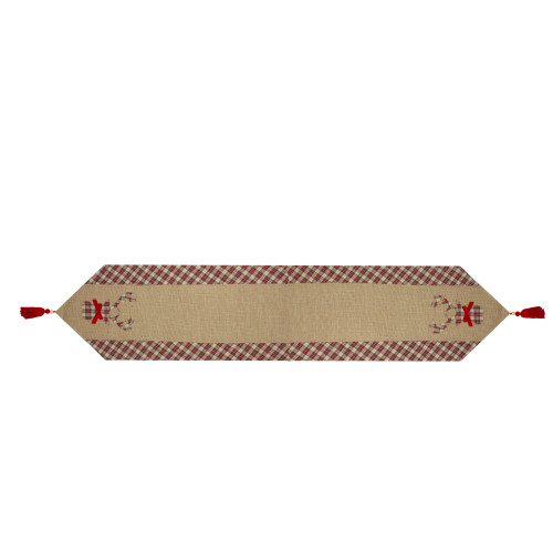 """36"""" Red and Brown Burlap and Plaid Reindeer Christmas Table Runner - IMAGE 1"""