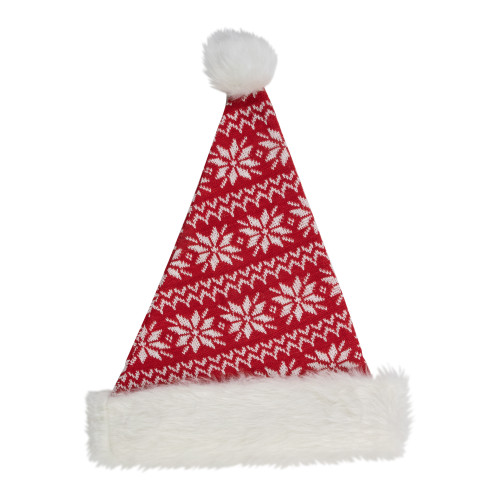 "17"" Red and White Nordic Snowflake and Striped Santa Hat With Pom Pom - IMAGE 1"