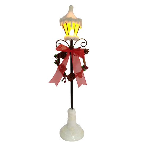 """12.75"""" White Snowfall Valley LED Lighted Lamp Post with Wreath Christmas Decoration - IMAGE 1"""