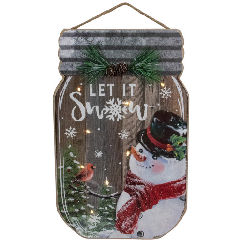 "13.5"" Battery Operated Mason Jar with Snowman ""Let It Snow"" Christmas Wall Sign - IMAGE 1"