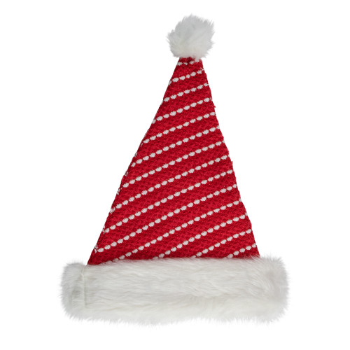 """17"""" Red and White Striped Santa Hat With Pom Pom - IMAGE 1"""