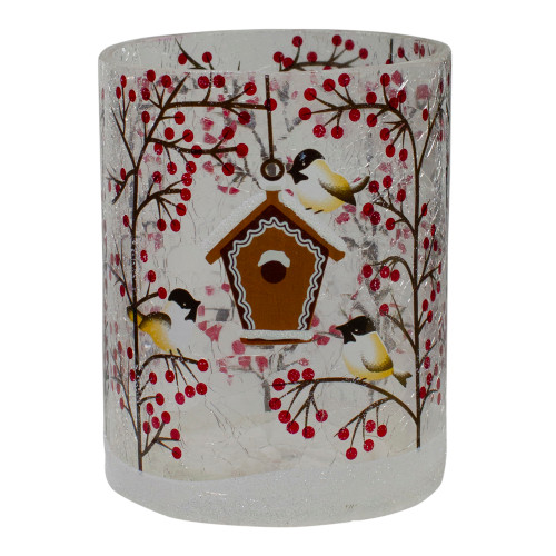 "5"" Hand Painted Sparrows and Berries Flameless Glass Christmas Candle Holder - IMAGE 1"