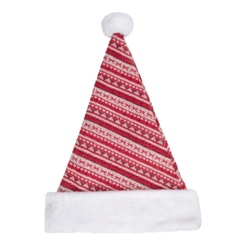 "17"" Red and White Nordic Striped Santa Hat With Pom Pom - IMAGE 1"