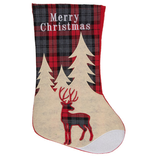 "19"" Green and Red Plaid Reindeer With Forest Trees Christmas Stocking - IMAGE 1"