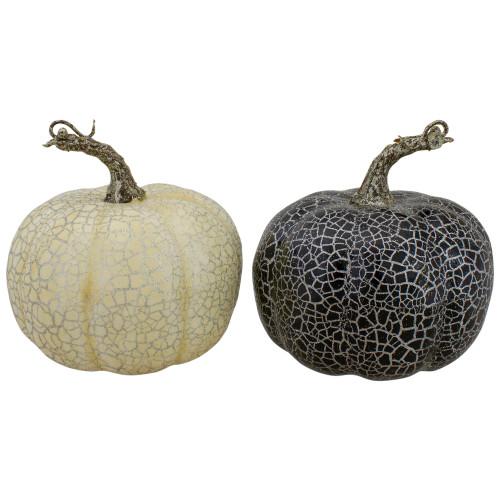 "Set of 2 Black and Beige Fall Harvest Tabletop Pumpkins With a Brown Stem 5"" - IMAGE 1"