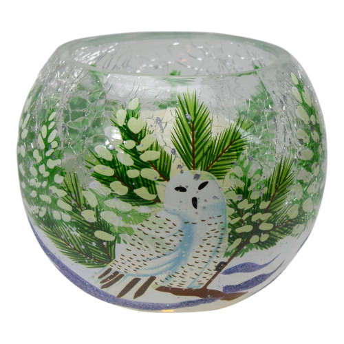 "4"" Hand Painted Owl and Pine Trees Glass Tealight Christmas Candle Holder - IMAGE 1"