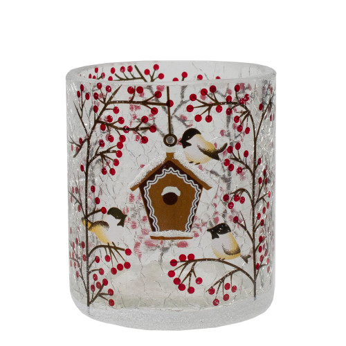 """3"""" Hand Painted Sparrows and Berries Flameless Glass Christmas Candle Holder - IMAGE 1"""