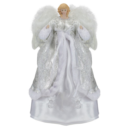 """18"""" Blonde Angel in White and Sliver Dress with Faux Fur Trim Christmas Tree Topper - IMAGE 1"""