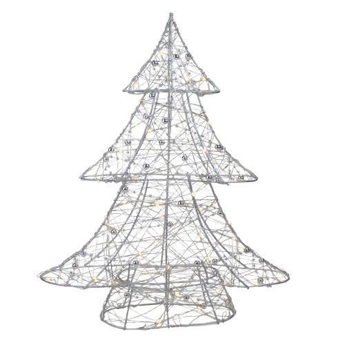 """15.25"""" LED Lighted B/O Silver Wire and Bead Christmas Tree - Warm White Lights - IMAGE 1"""