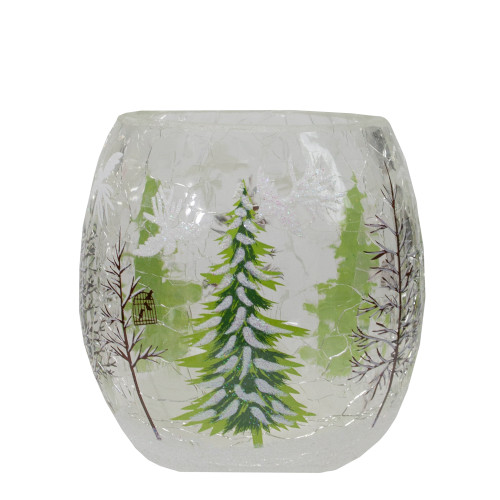 "3"" Hand Painted Christmas Pine Trees Flameless Glass Christmas Candle Holder - IMAGE 1"