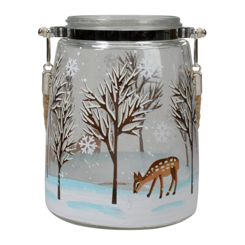 """6.25"""" Trees and Fawns Flameless Glass Candle Lantern - IMAGE 1"""
