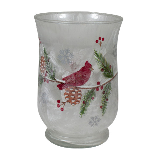 "6"" Hand Painted Christmas Cardinal and Pine Flameless Glass Candle Holder - IMAGE 1"