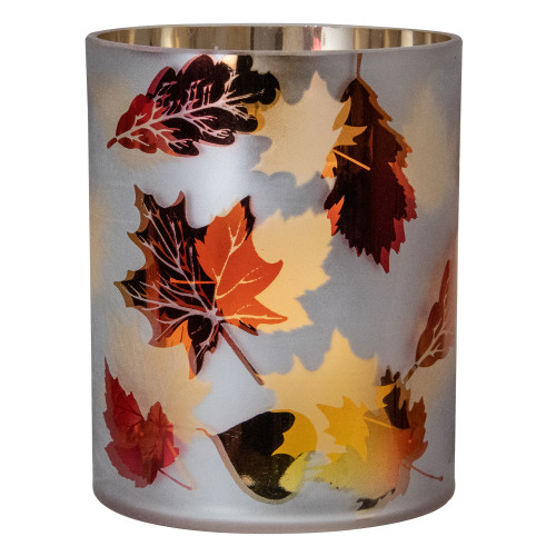 """6"""" Matte White and Gold Autumn Leaves Flameless Glass Candle Holder - IMAGE 1"""