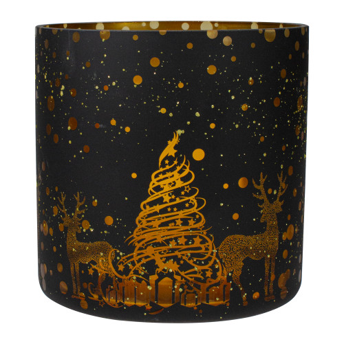 "6"" Black and Gold Deer and Pine Trees Flameless Glass Candle Holder - IMAGE 1"