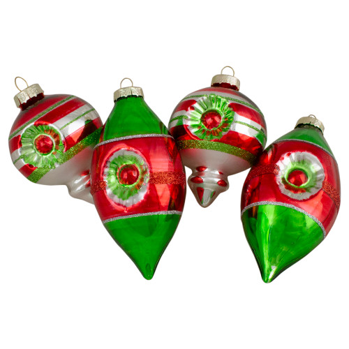 4ct Red, Green and Silver Vintage Glass Christmas Ornaments 3.25-Inch (80mm) - IMAGE 1