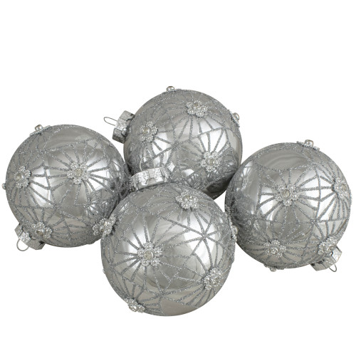 4ct Silver with Floral Gem Christmas Ball Ornaments 3.25-Inch (80mm) - IMAGE 1