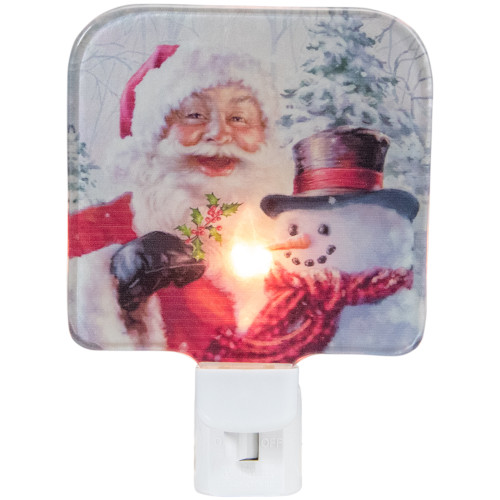 """4"""" Red and White Santa and a Snowman Christmas Night Light - IMAGE 1"""