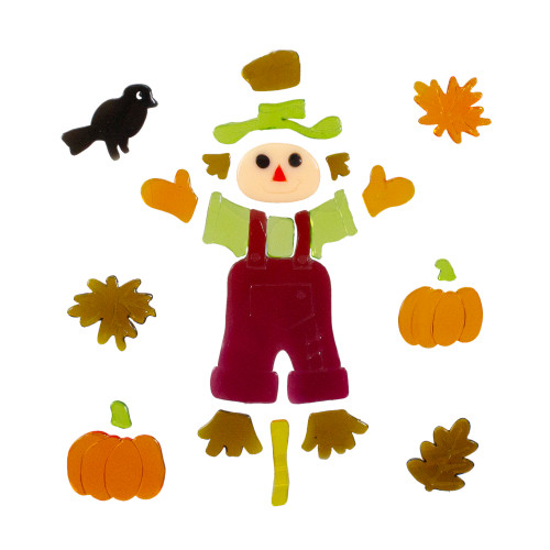 Scarecrow and Pumpkins Thanksgiving Gel Window Clings - IMAGE 1