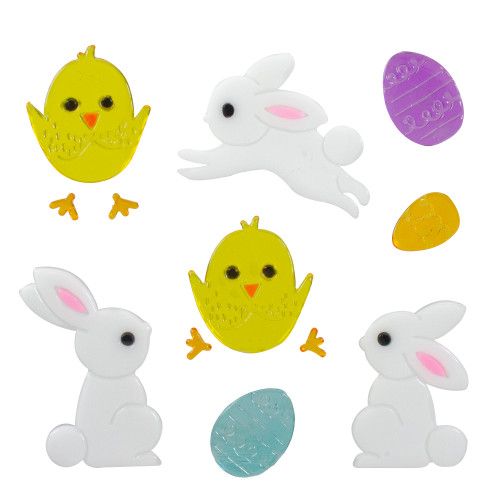 Bunnies and Chicks Easter Spring Gel Window Clings - IMAGE 1