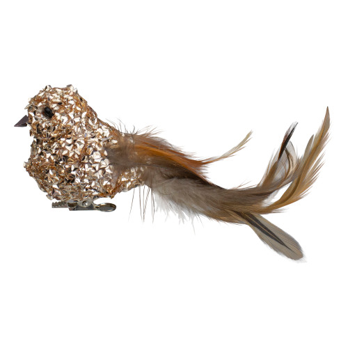 """5.5"""" Champagne Gold Beaded Clip On Bird Christmas Ornament - IMAGE 1"""