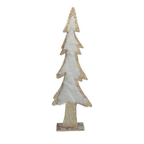 """14.5"""" Brown and White Wooden Tree Christmas Tabletop Decor - IMAGE 1"""