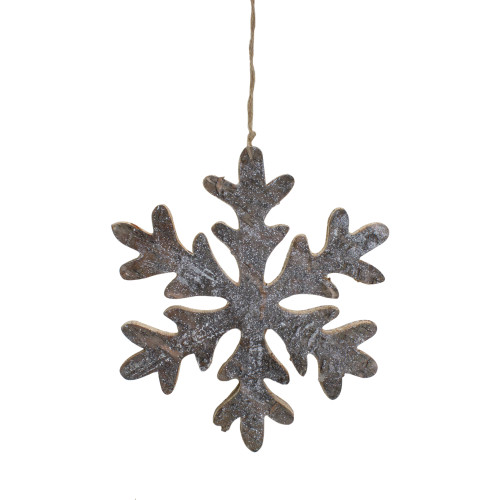 "10"" Metallic Silver and Gold Wooden Snowflake Christmas Wall Decor - IMAGE 1"