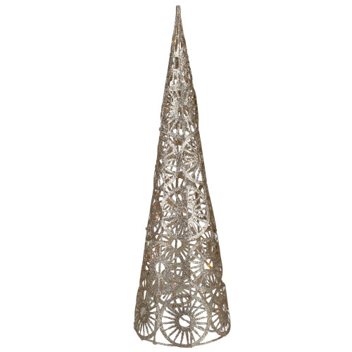 "15.5"" LED Lighted B/O Gold Glittered Wire Sunburst Christmas Cone Tree - Warm White Lights - IMAGE 1"