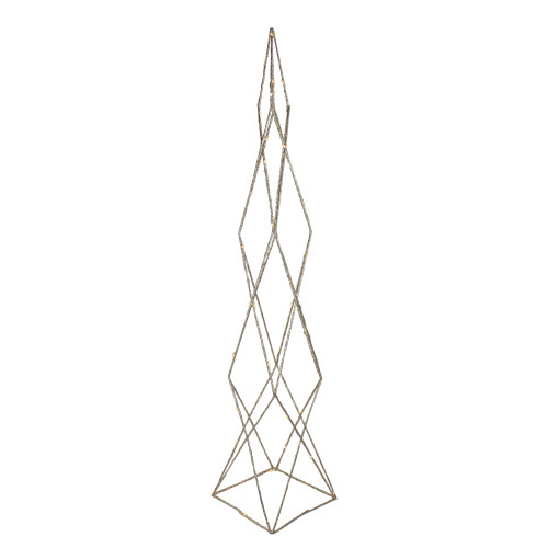 """32"""" LED Lighted B/O Gold Glittered Wire Geometric Christmas Cone Tree - Warm White Lights - IMAGE 1"""