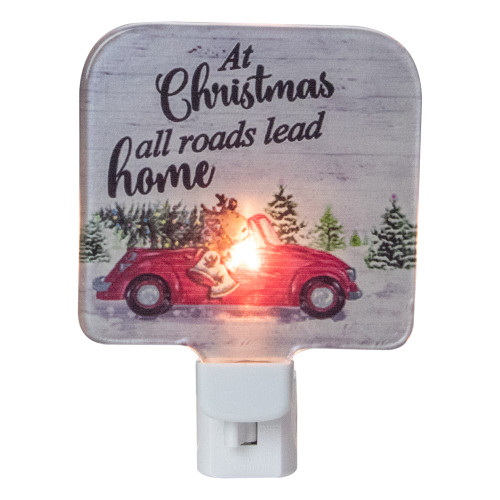 """4"""" Red and Green Christmas Night Light with a Reindeer and Car - IMAGE 1"""