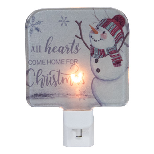 """4"""" White All Hearts Come Home for Christmas Glass Night Light - IMAGE 1"""