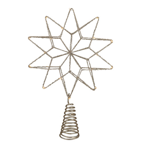 "12"" LED Lighted B/O Gold Glittered Geometric Star Christmas Tree Topper - Warm White Lights - IMAGE 1"