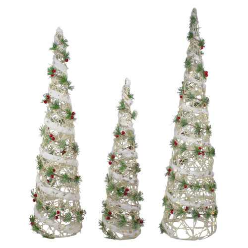 Set of 3 Lighted White Berry and Pine Needle Cone Tree Christmas Decorations - IMAGE 1