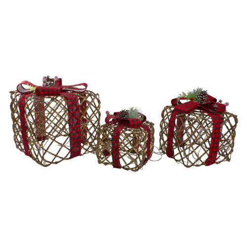 Set of 3 LED Rustic Rattan Christmas Gift Boxes with Pinecones - IMAGE 1
