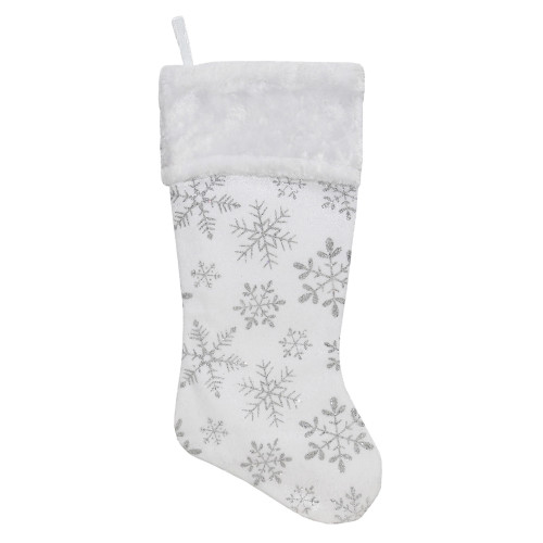 "20"" White and Silver Snowflakes Christmas Stocking - IMAGE 1"