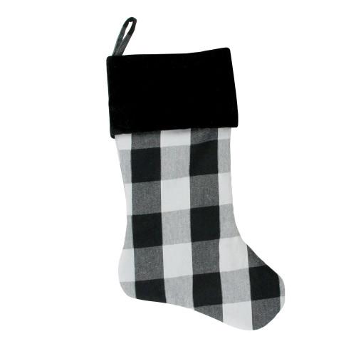 "20"" White and Black Buffalo Plaid Christmas Stocking with Velvet Cuff - IMAGE 1"